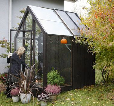 wooden greenhouse with tool shed sprout kekkila