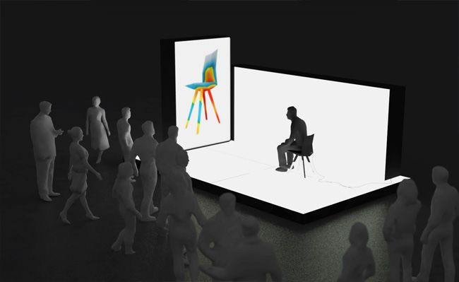 Visitors to the installation are invited to use the chair and view their unique physical impact on it displayed via a video wall inside the testing booth. Hundreds of industrial sensors integrated into the prototype capture every movement and simultaneously display it as a realtime false colour force simulation, thus exposing and visualizing the flow of forces normally hidden from the human eye.