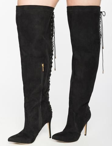 Lace Up Wide Calf Boots