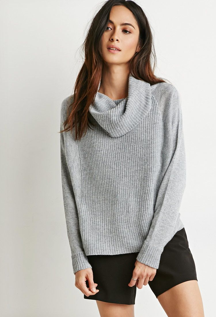 Contemporary Ribbed Cowl Neck Sweater | Forever 21 - 2000119984 ...