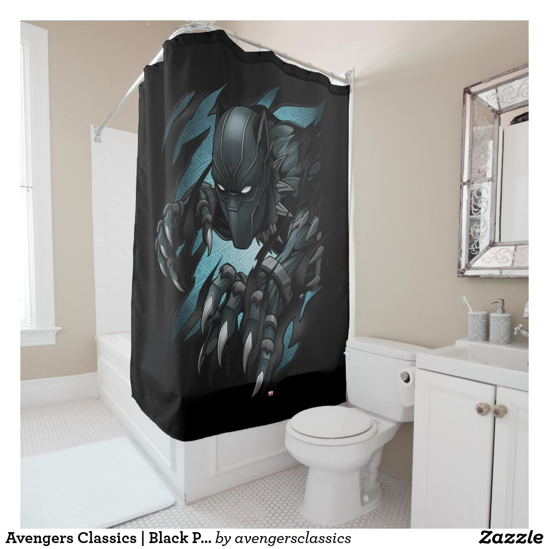 Avengers Classics Black Panther Tearing Through Shower Curtain
