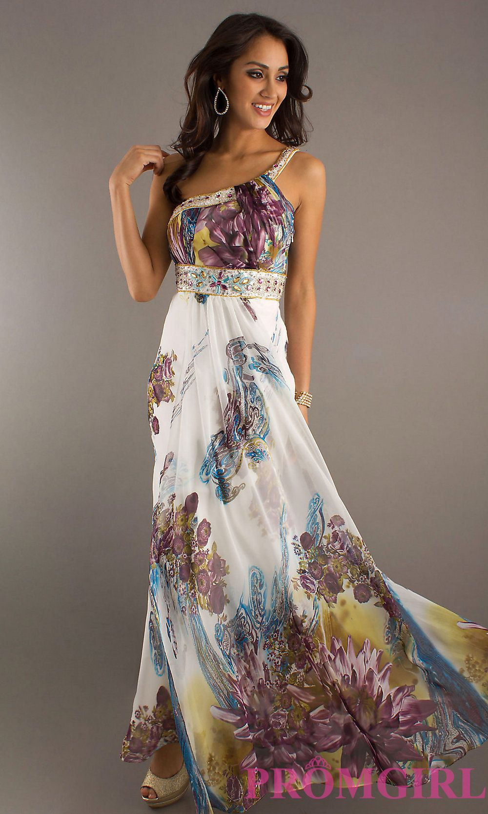 Long One Shoulder Print Prom Dress Simply Dresses