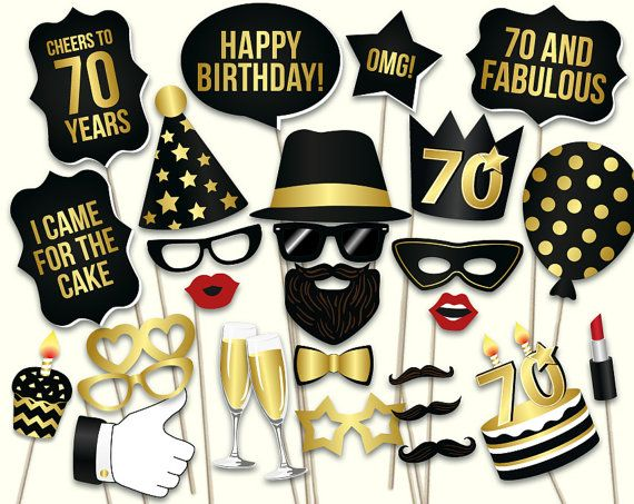 70th Birthday Photo Booth Props Printable PDF Black And Gold Seventieth Party Supplies I