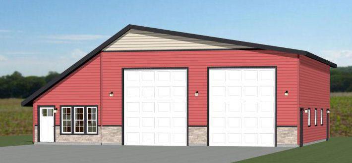50x48 2 Rv Garage 50x48g1b 2 374 Sq Ft Excellent Floor Plans Shed Plans Garage Plans Shed