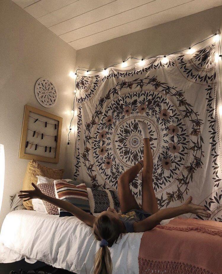 Room Bedroom Wallhang Tapestry Lights Fairylights Cute