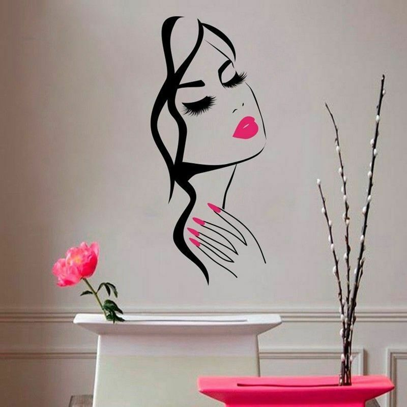 Wall Sticker Beauty Salon Manicure Nail Salon Girl Face Vinyl Decal Home Decor