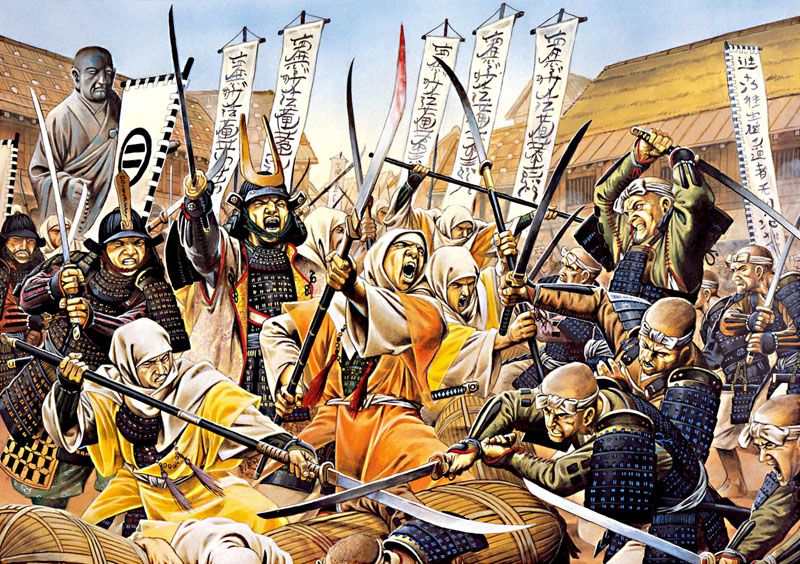 The defence of Kioto by the warrior monks of the Hokke-shu against attack by the Ikko-ikki, 1528