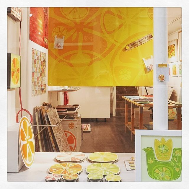 We've gone for a citrus vibe in the window - feeling springy with citrus designs   #shop #lemon #orange #lime #design #madeinbritain #independent #Frome #CatherineHill #magneticboard #placemats #lightbox #coasters #fridgemagnet