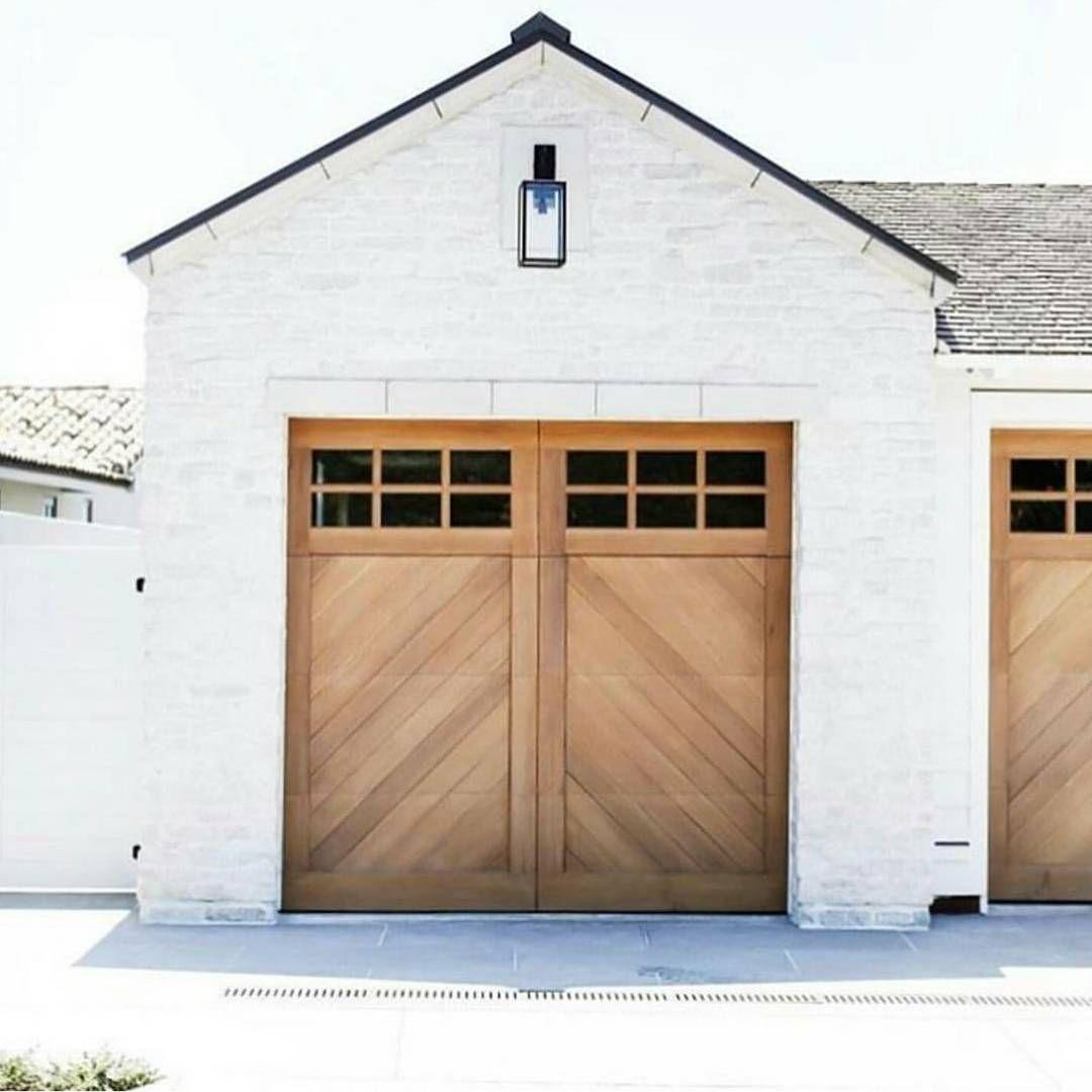 Garage Doors Made Of Wood Modern Farmhouse Exterior House Styles Modern Garage