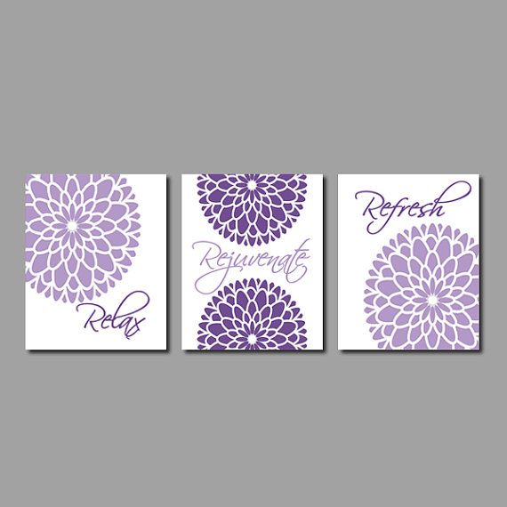 Floral Flower Flourish Wall Art Relax Rejuvenate Refresh Purple Grey Gray Wall Art Bathroom Decor Bathroom Picture Set Of 3 Prints Or Canvas