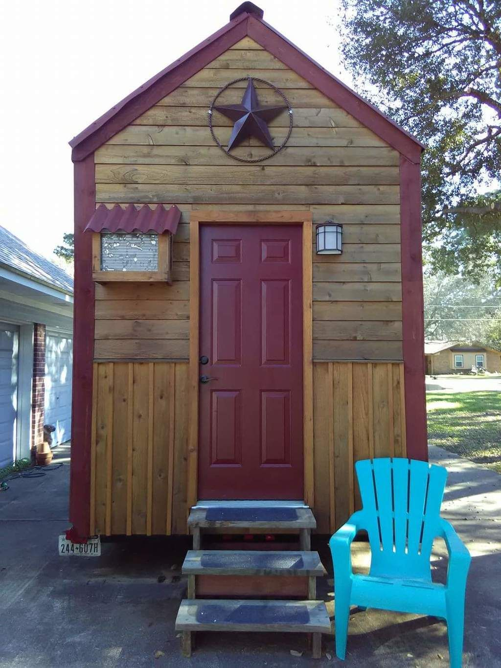 """Rustic western cedar charm inside & out. 130 Sq ft down & 90 Sq ft in twin lofts connected with a """"loft bridge"""". 16ft Trailer is 99% complete. (See below about the 1 %) Each loft will hold queen beds & with a queen futon downstairs it can sleep 6. Exterior has natural wood stain…"""
