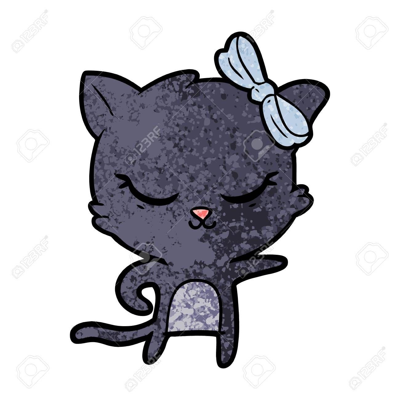 Cute Cartoon Cat With Bow Aff Cartoon Cute Bow Cat Cartoon Cat Cute Cartoon Card Design