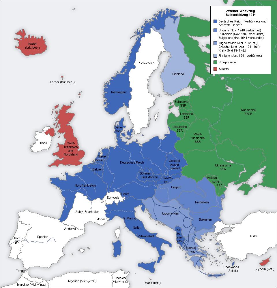 deutschland karte 1941 Der Zweite Weltkrieg   Balkanfeldzug (1941)   European history