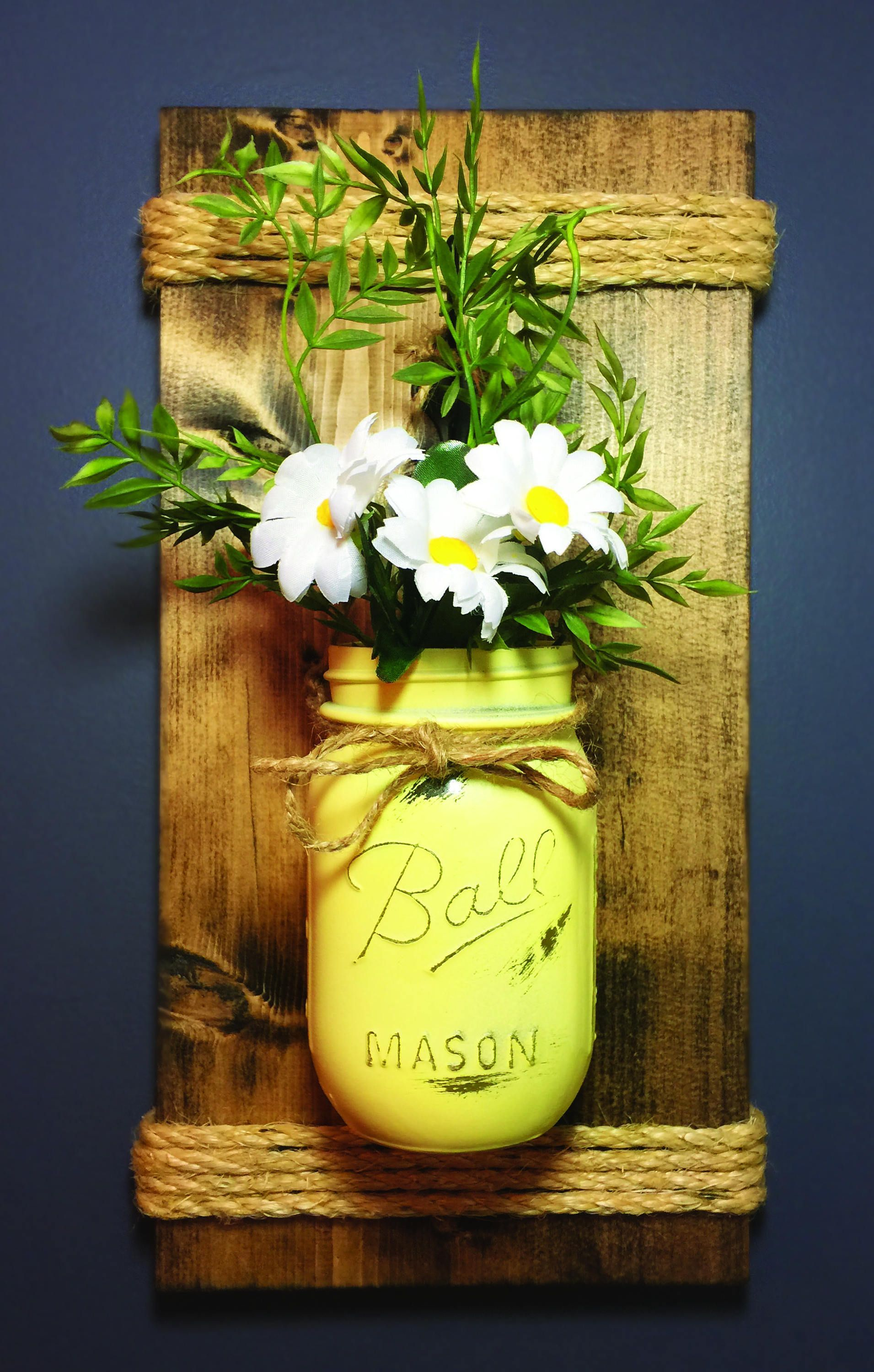 Pint Mason Jar Wall Sconce, Pine, Wood, Wedding, Wall Decor, Shabby ...