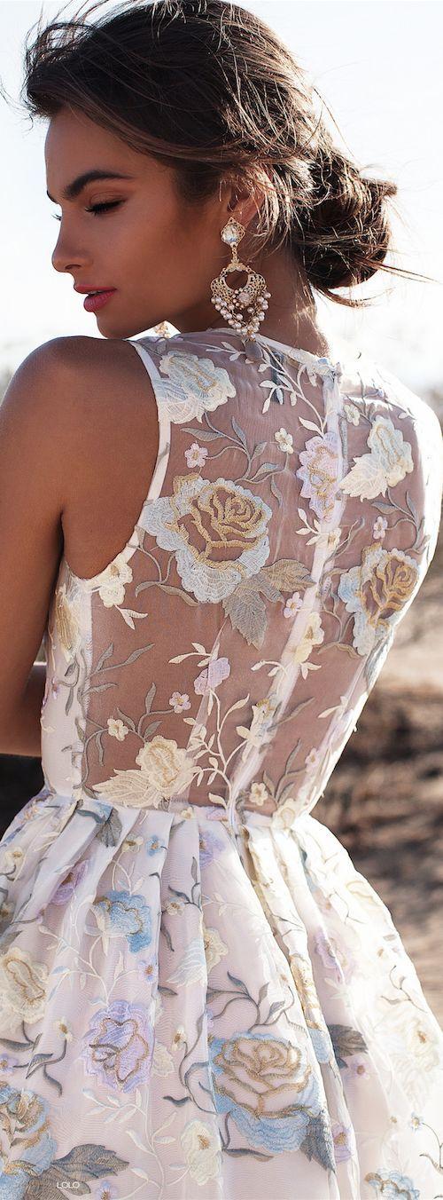 Women's fashion   Elegant floral embroidered dress