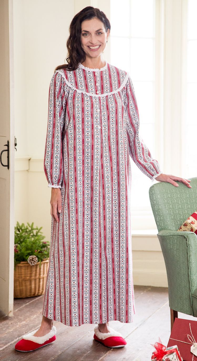 Women's Lanz Cranberry Tyrolean Flannel Nightgown