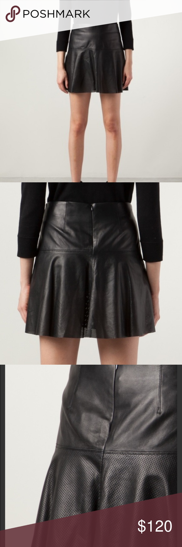 5e2a36f641 Vince Perforated Lamb Leather Skirt This is a Vince designer lamb leather  skirt with perforated detail