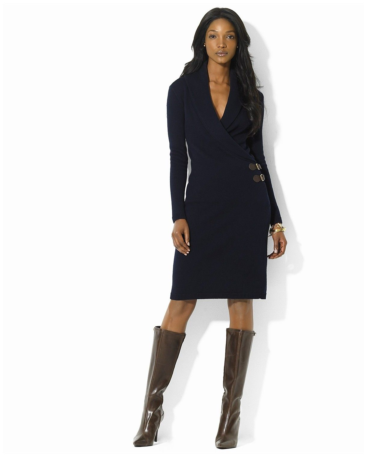Dress Trey Shawl Collar Wrap Dress In Blue Lighthouse Navy Lyst