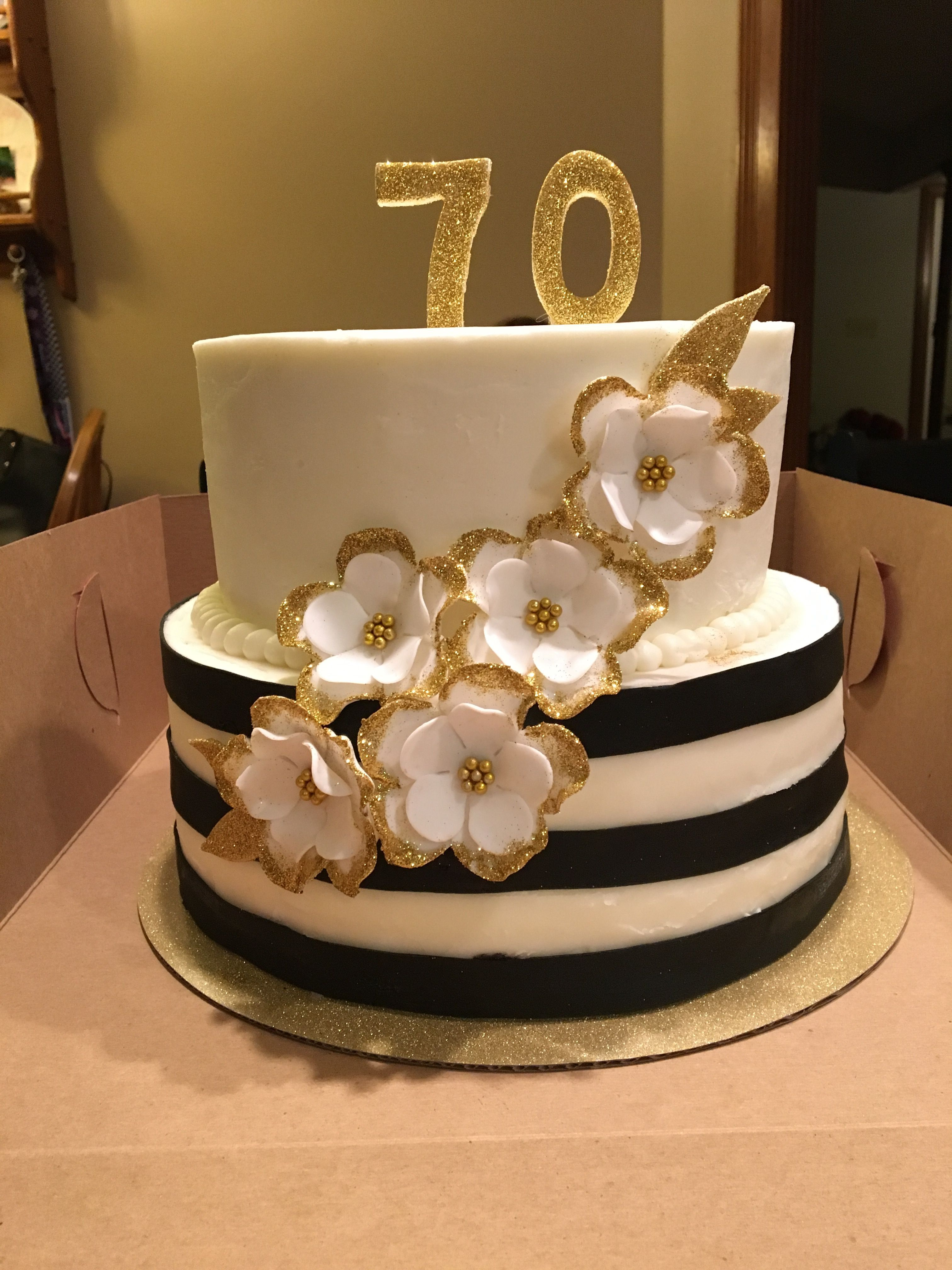 Black White And Gold Birthday Cake Fondant Flowers