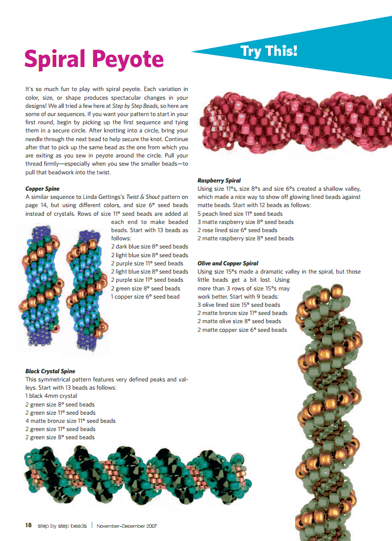 Useful tutorial and formulas for spiral tubular peyote stitch (a.k.a. Cellini spiral)