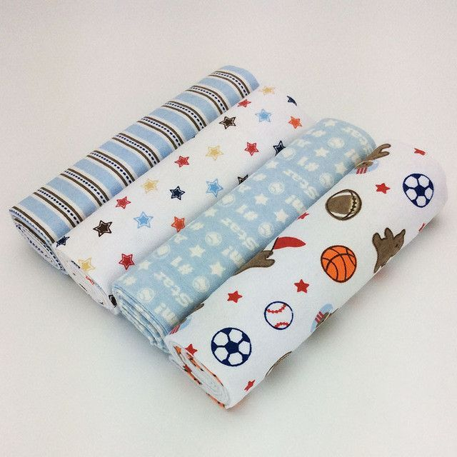 New Color 4pcs Pack 100 Cotton Flannel Baby Blanket Receiving Newborn Colorful Coberto Flannel Baby Blankets Baby Receiving Blankets Crib Bedding Boy