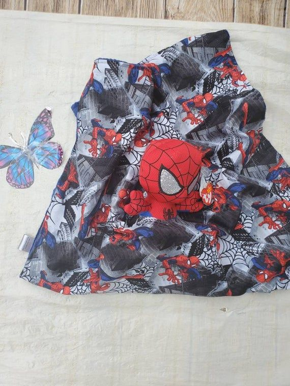 Lovey Spiderman Plush Security Blanket , Cotton Spiderman Print, Baby Lovey Plush Comforter appox. 2