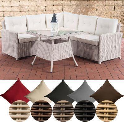 CLP Polyrattan Gartengarnitur SIERRA 5mm, Sitzecke mit Sitzkissen in - gartenmobel polyrattan eckbank