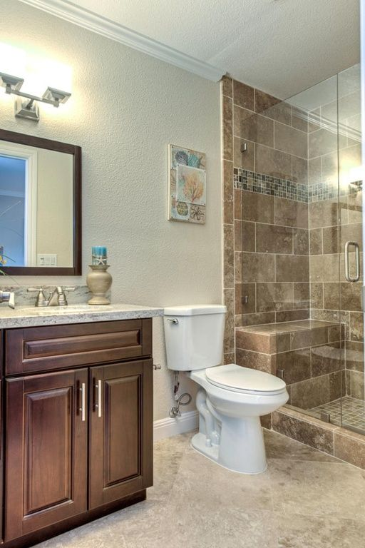 Traditional 3/4 Bathroom with Complex Granite, Sea Gull Lighting ...