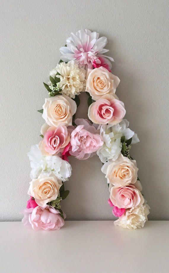 Baby Girl Nursery Decor Floral Letter Nursery Letter