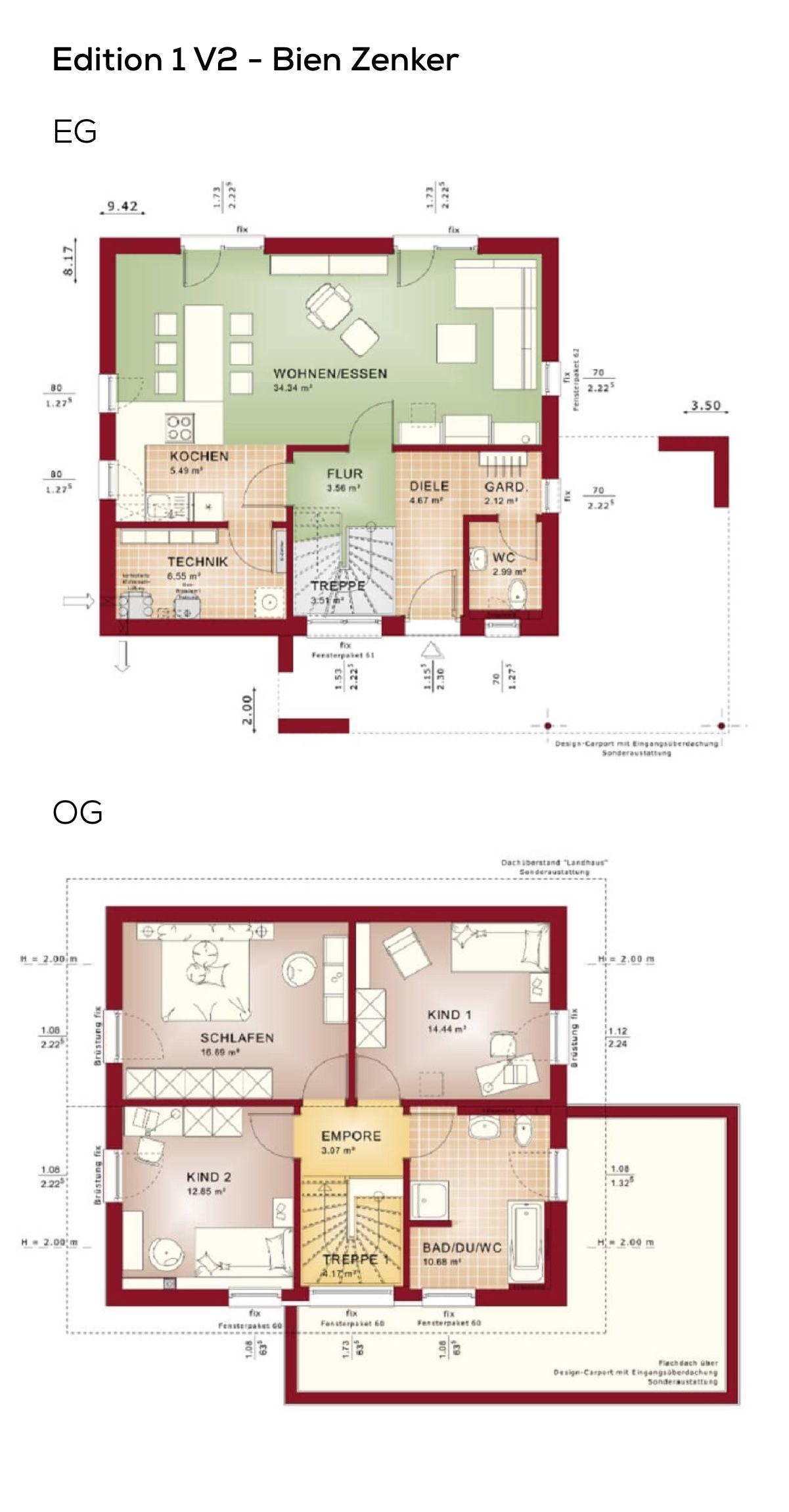 Haus bauen Grundriss mit Design Carport und Satteldach Architektur ...