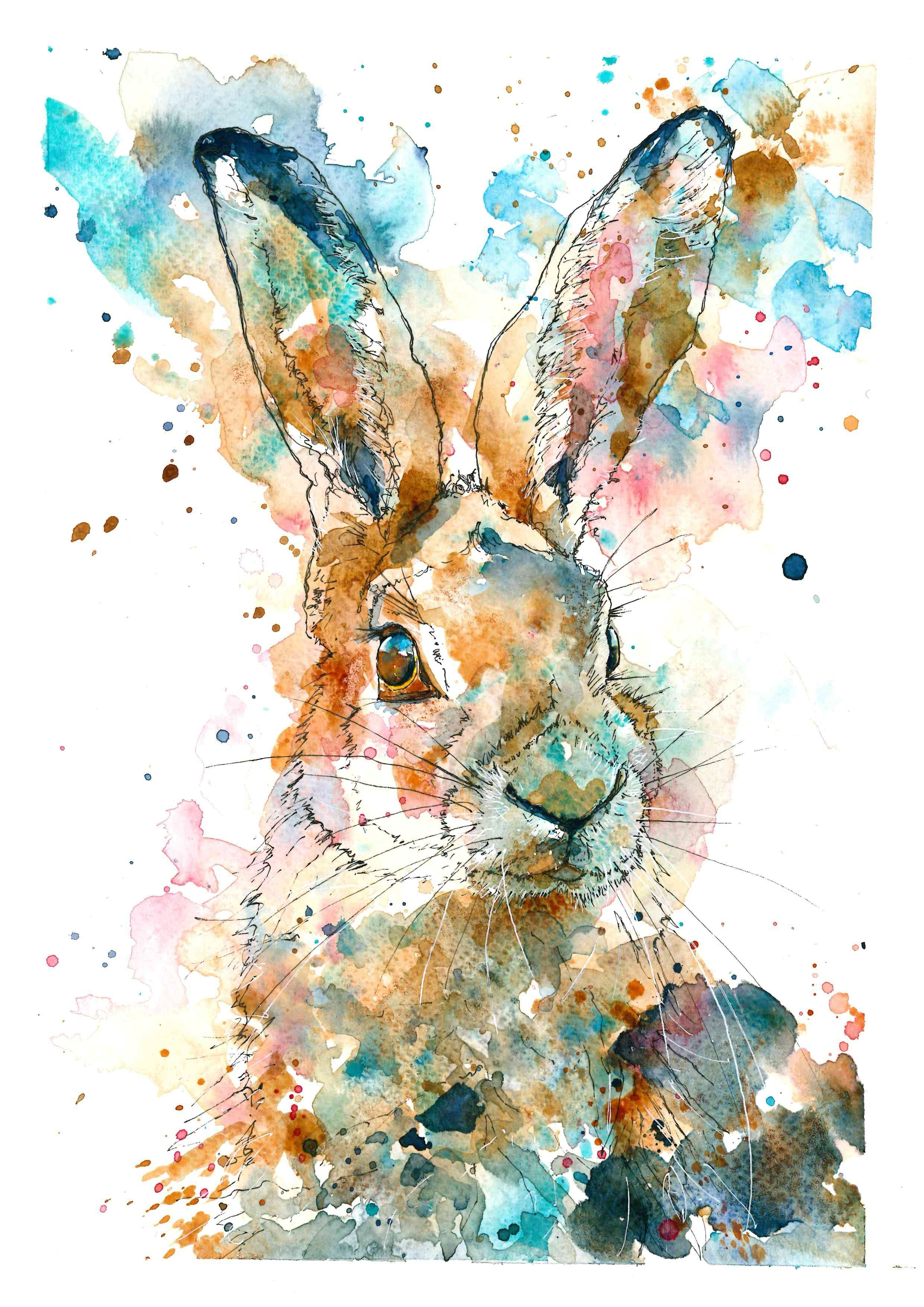 Watercolour And Pen Hare Number 2