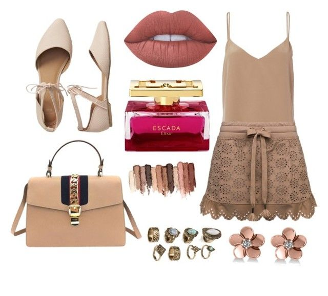 """Nude❤"" by ladytmllfashion19 ❤ liked on Polyvore featuring Gucci, L'Agence, Gap, Lime Crime, tarte and Allurez"