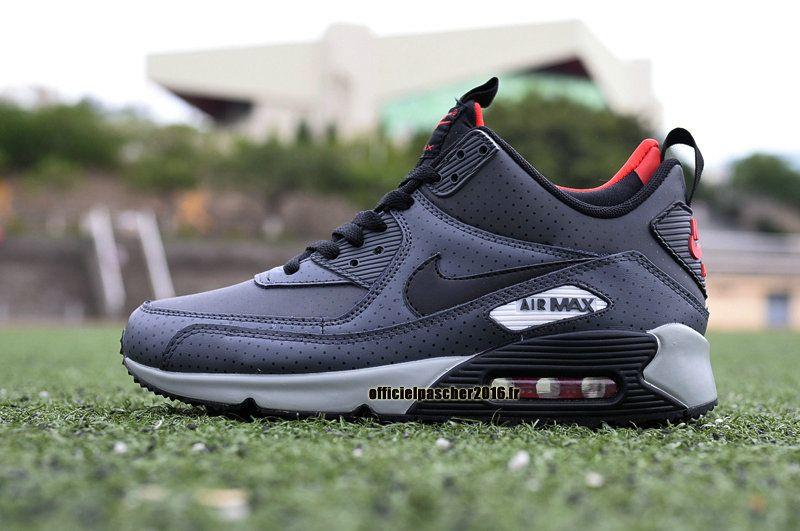 official photos 5539c f2e16 Officiel Nike Air Max 90 Sneakerboot Chaussures Nike Pas Cher 2016 Pour  Homme Noir - Gris