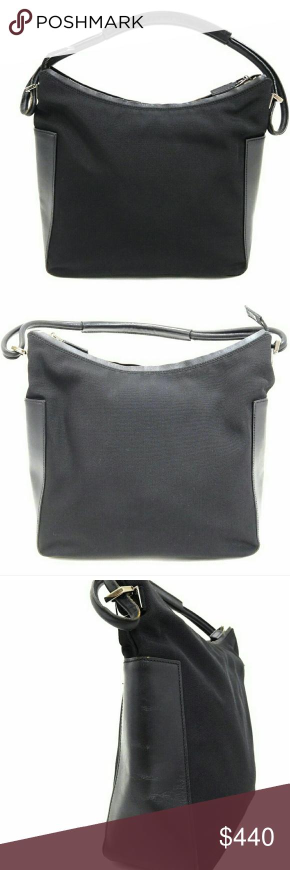 Gucci Leather Tote Satchel Vinatge Black Nylon Leather totes