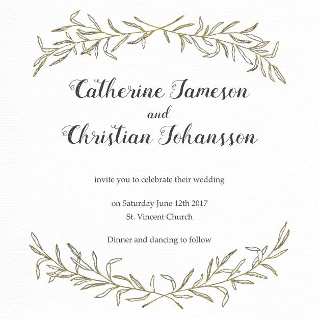 Ai Elegant Wedding Invitation With A Floral Frame Vector Free