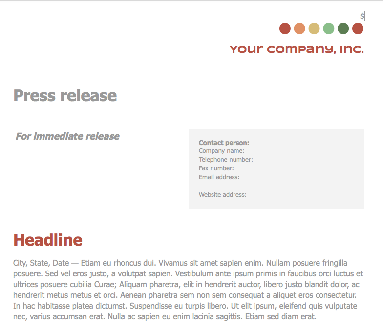 business press release template