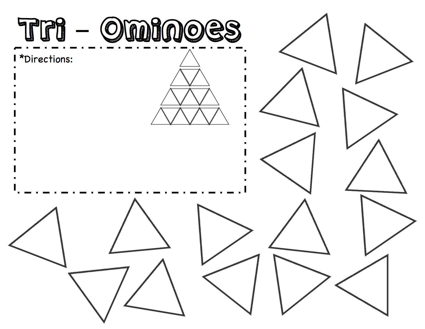 TriOminoes Puzzle Template Printable. Fill in the