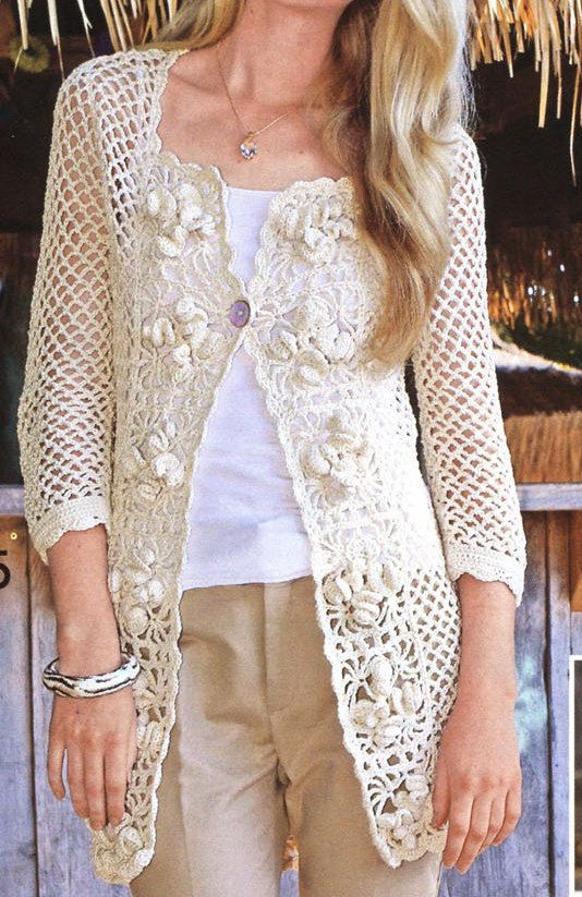 Pattern only a crochet spring/summer/fall long cardigan ...