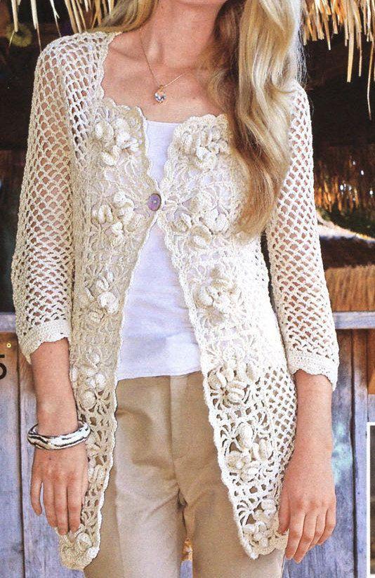 Pattern only a crochet spring/summer/fall long cardigan ...