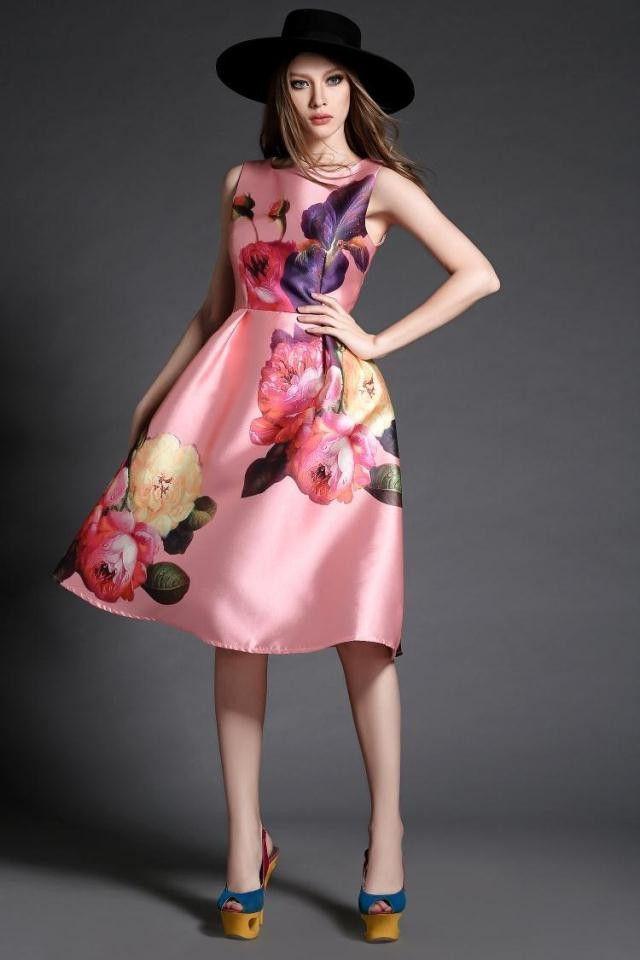 Elegant Fashion Print Tank Dress | Vestidos alta costura, Alto y ...