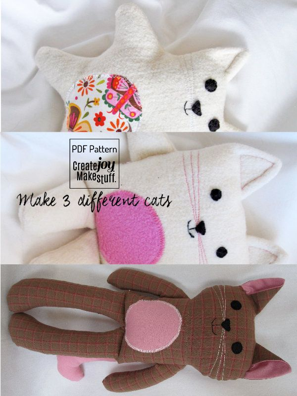 Make 3 Cats - Sewing Pattern & Tutorial - easy, simple, kitten ...