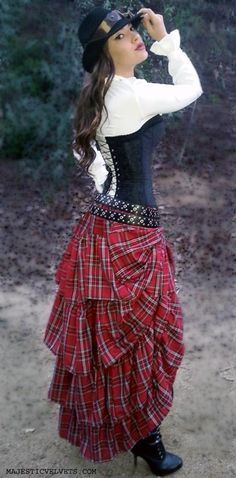 black corset with plaid ruffled skirt  steampunk dress