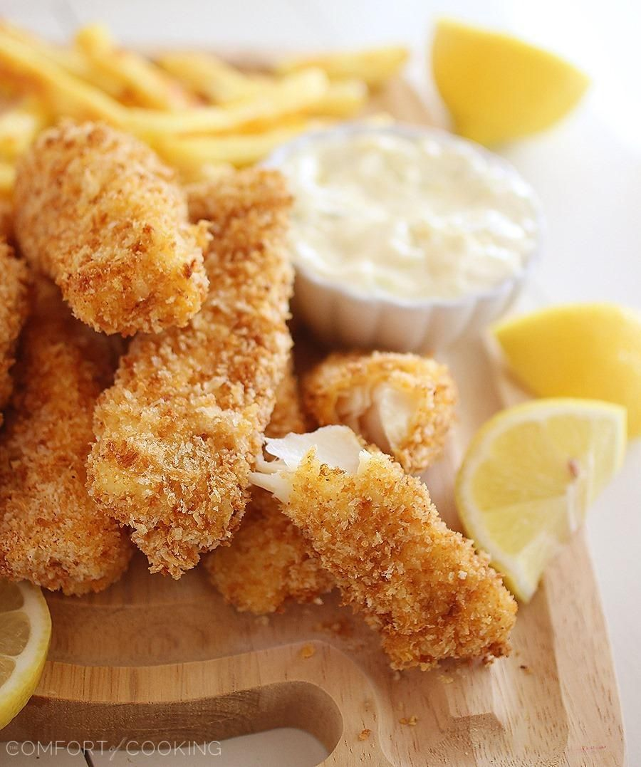 Crispy Baked Fish Sticks with Tartar Sauce Recipe Food