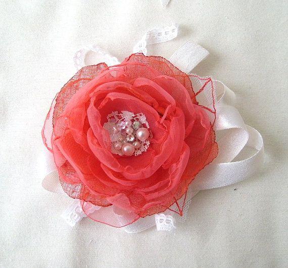 Coral Flower Wrist Corsage Bridesmaids Gift by FairytaleFlower, $24.00
