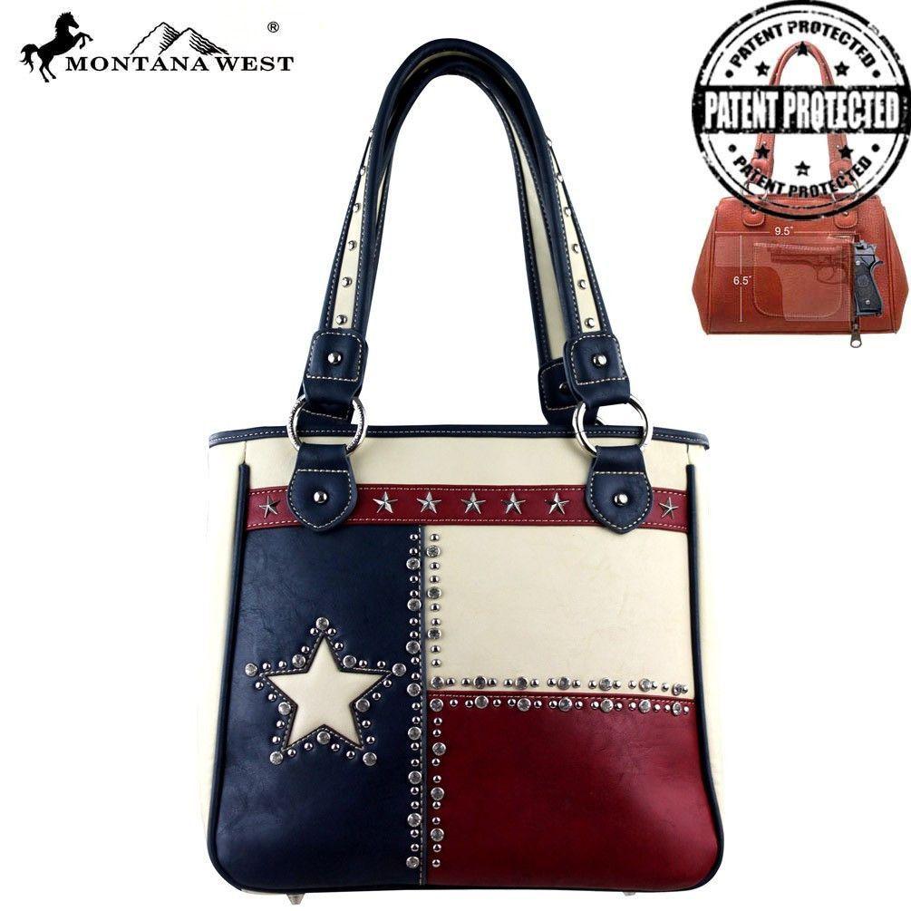 New Montana West Handbag Texas Conceal Carry Lonestar Tote Nib Blue Trim