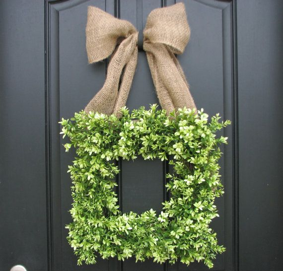 Lovely Items Similar To Wreaths   Boxwood Wreath   Square Wreath   Spring Decor    Burlap Ribbon   Year Round Wreath On Etsy