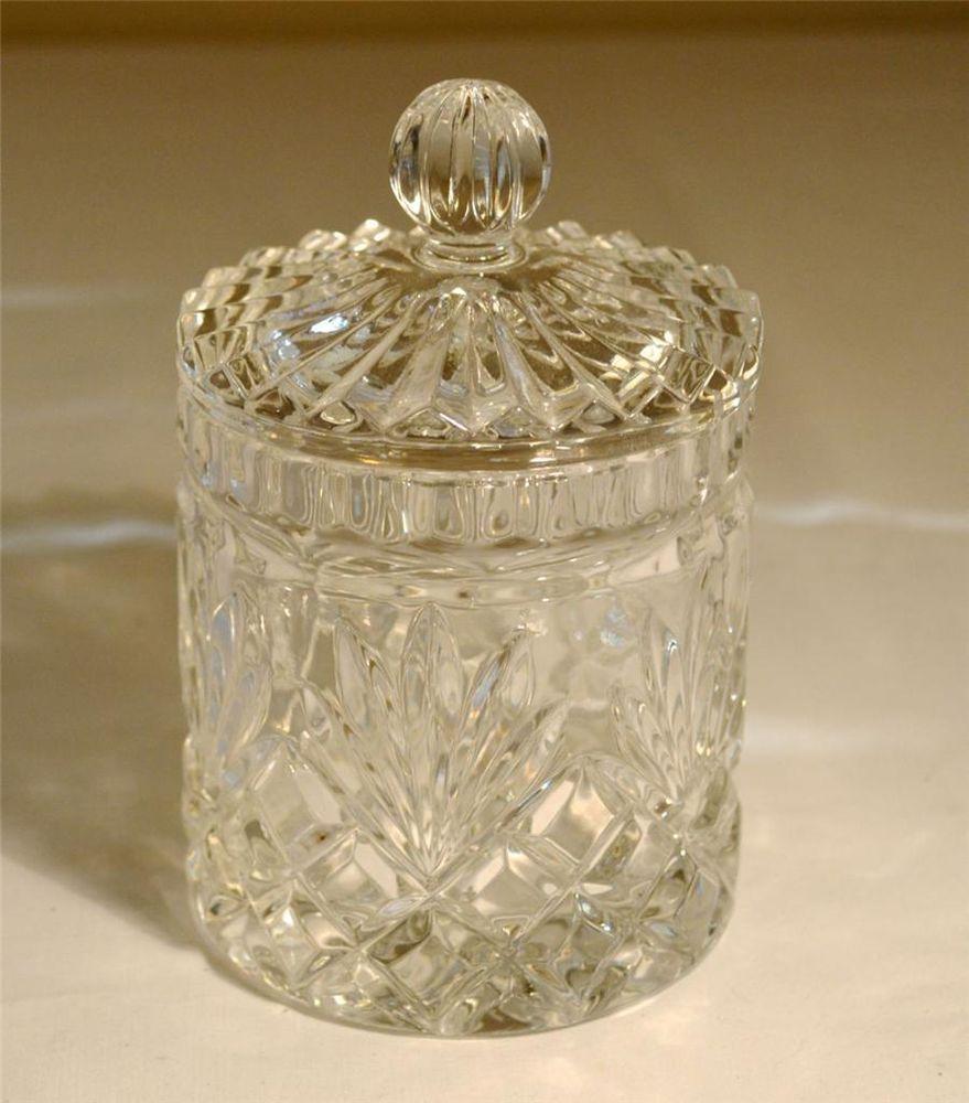 Clear Cut Glass Crystal Candy Jar w/ Lid