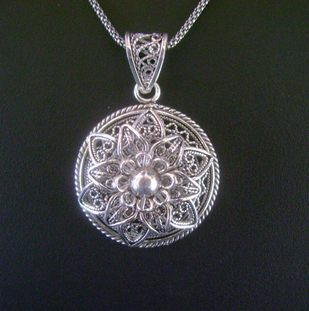 925 Sterling Silver Artisan Filigree Disc Flower Pendant With Silver Chain Pendant Silver Pendant 925 Sterling Silver
