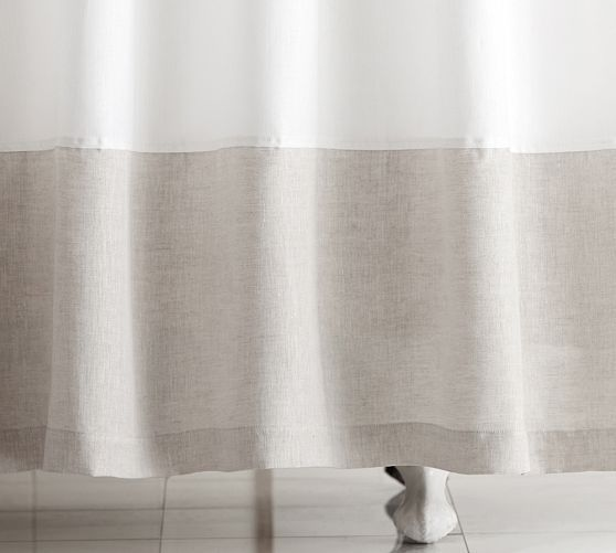 Linen Banded Shower Curtain Curtains Fabric Shower Curtains