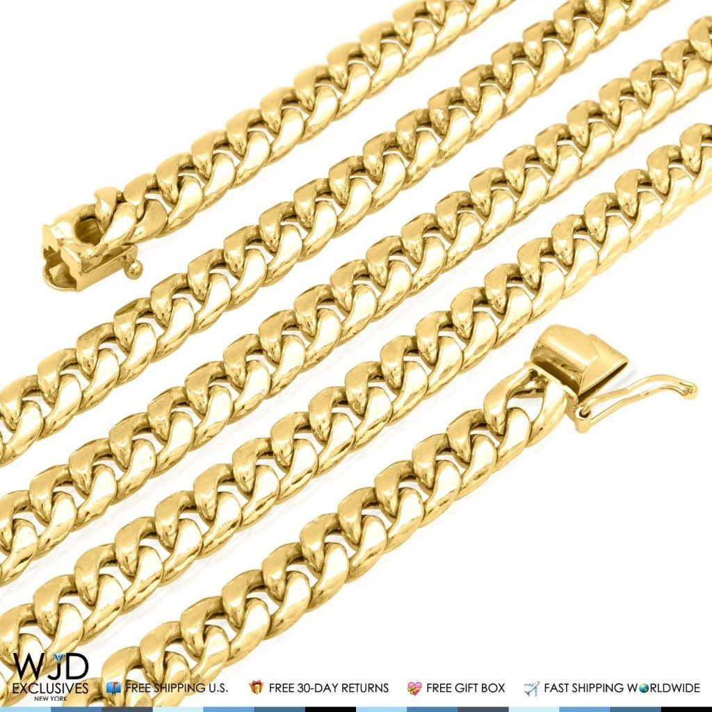 10k Solid Yellow Gold 13mm Miami Cuban Hollow Link Chain Necklace 24 Wjd Exclusives Cuban Link Chain Necklaces White Gold Chains 18k Gold Chain